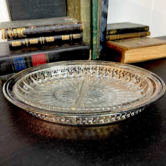 vintage 2 piece silver relish tray with glass dish